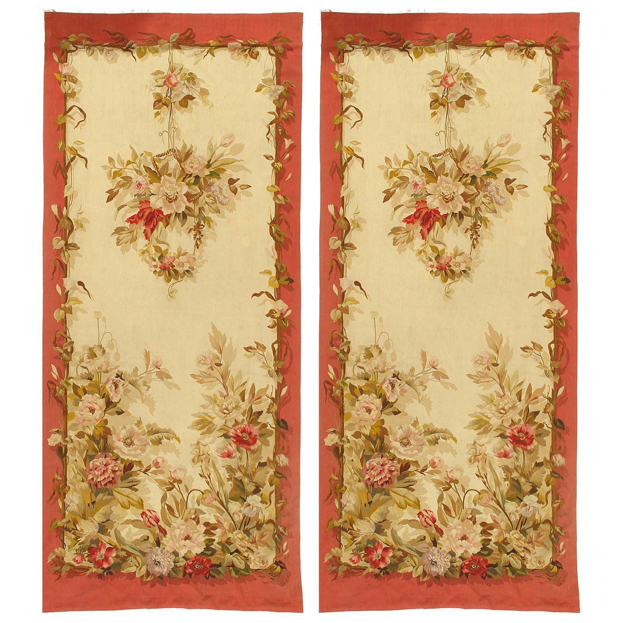 Pair of French Aubusson Portieres, \