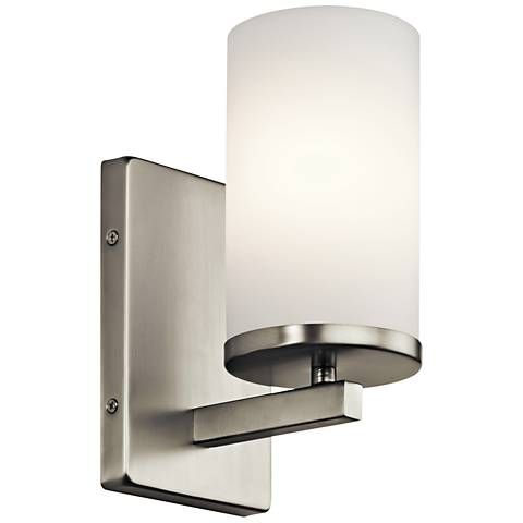Kichler Crosby 9 1 4 High Brushed Nickel Wall Sconce 16w59 Lamps Plus Bathroom Wall Sconces Bath Wall Sconces Bathroom Sconces
