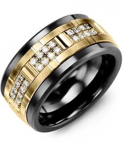 Men S Wide Grooved Diamond Wedding Ring In Tungsten White Gold