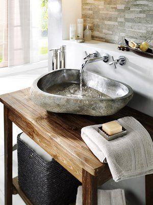 15 Kitchen Faucet Ideas Badezimmer Rustikal Waschbecken Flussstein Waschbecken
