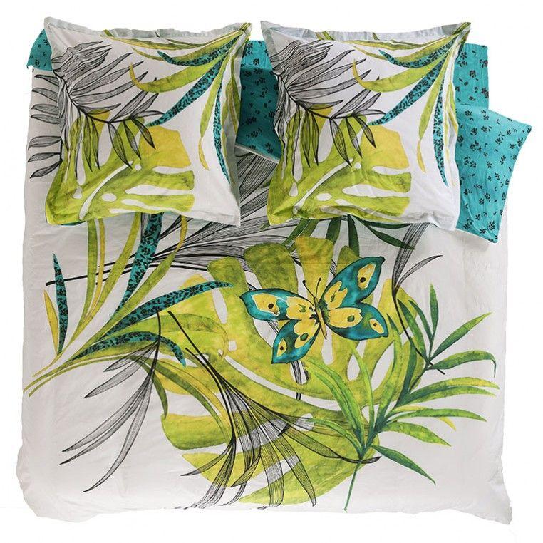 amazonia lit imprime - parure de lit à motifs - carre blanc | cham