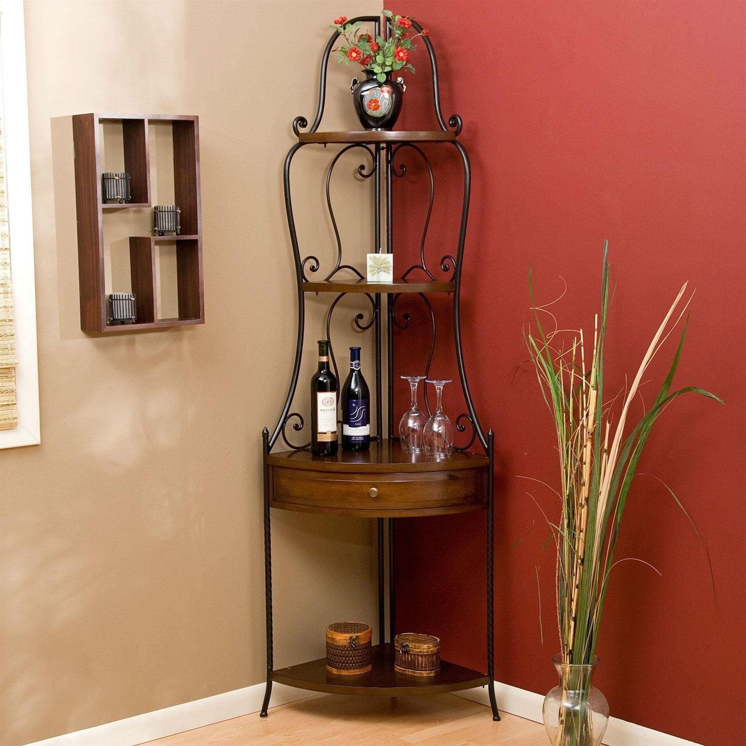Dining Room Corner Decorating Ideas Space Saving Solutions: Space Saving Corner Bakers Rack With Wrought Iron Frame