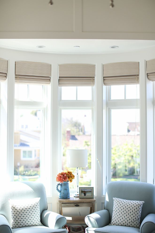 Bay Window Covering Bay Window Covering I Find The Best Way To Dress Bay Windows Is By Adding Roman Shade Coastal Interiors Coastal Living Rooms Luxury Homes