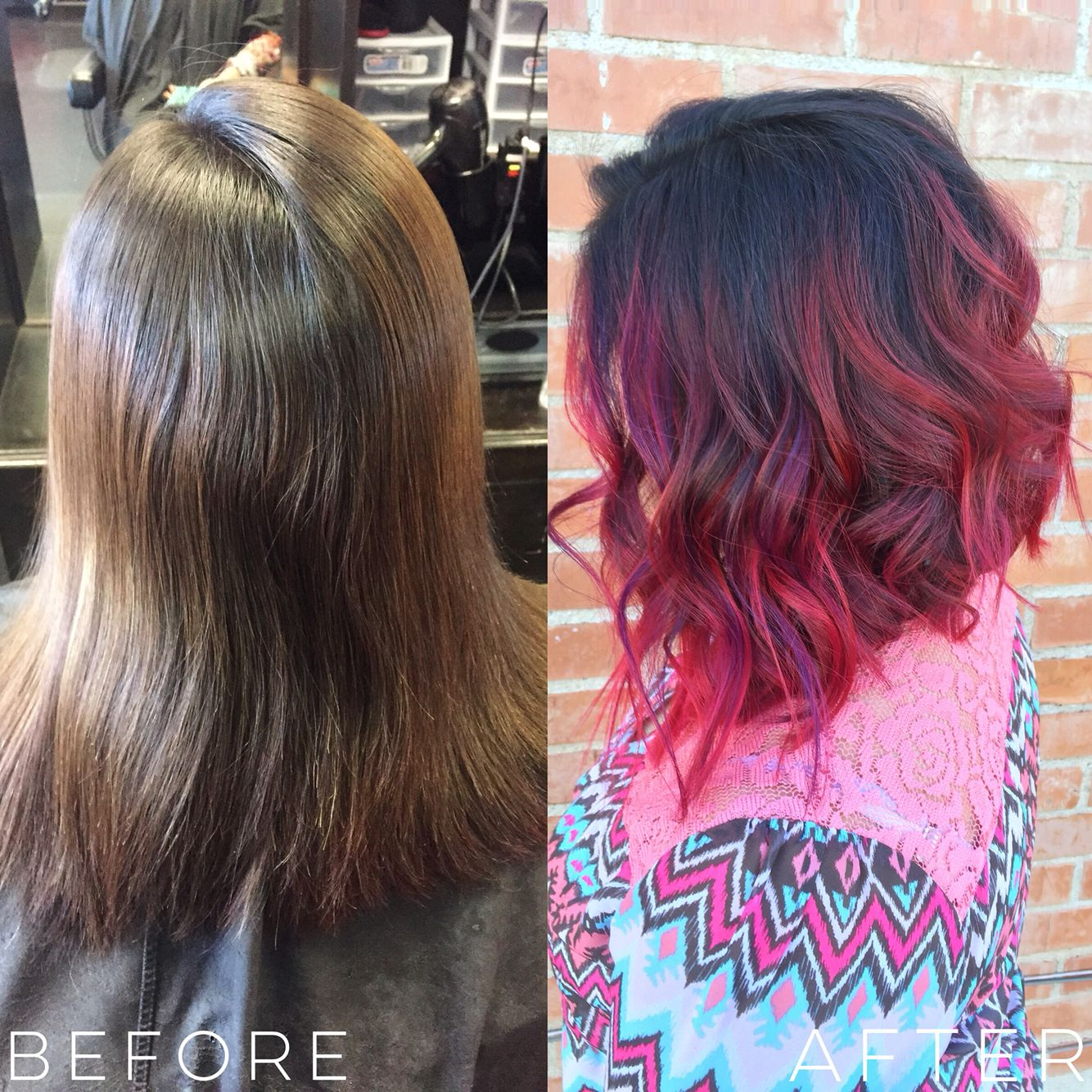 Red Magenta And Purple Balayage Ombre Mix A Line Cut