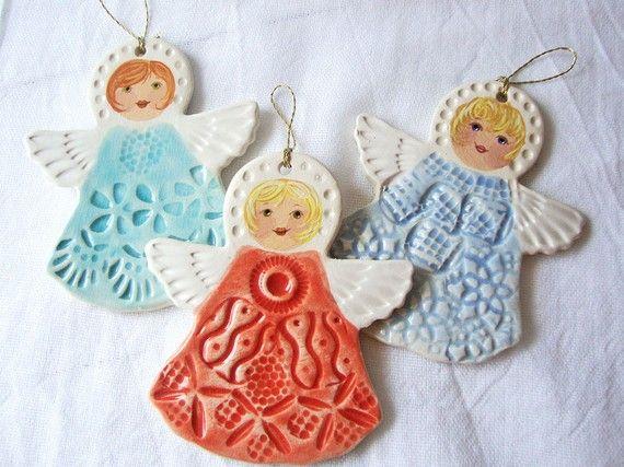 Handmade+Angel+Ornaments+Set+of+3+by+Iktomi+on+Etsy