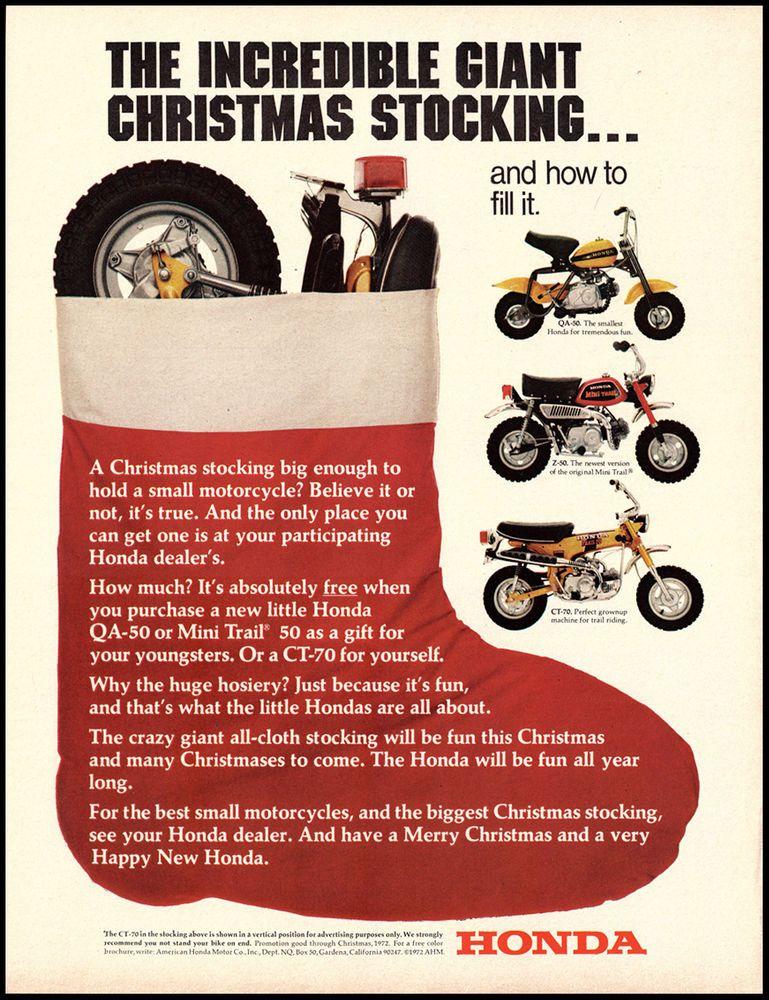 1972 Vintage Ad Honda Motorcycles QA 50 Z CT 70 Christmas Advertising