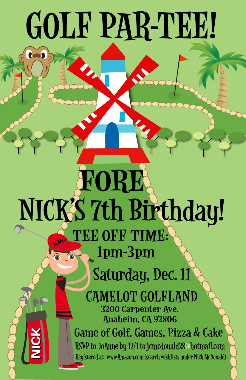 Miniature Golf Birthday Invitation Party Transformer Free