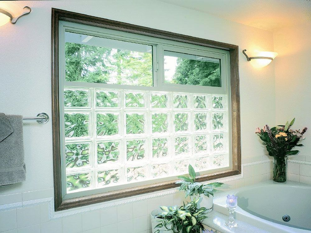 Glass block vinyl framed window with an operable slider on for Bathroom window designs