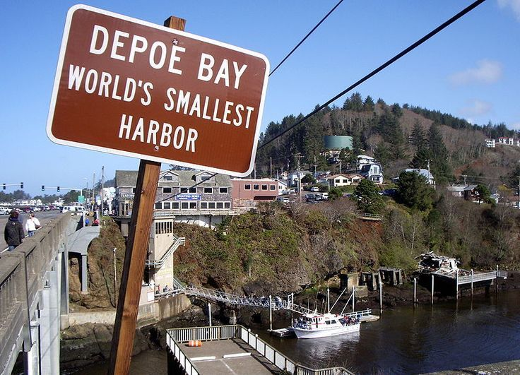 Depoe Bay, Oregon. Great whale watching. Sign says it all.