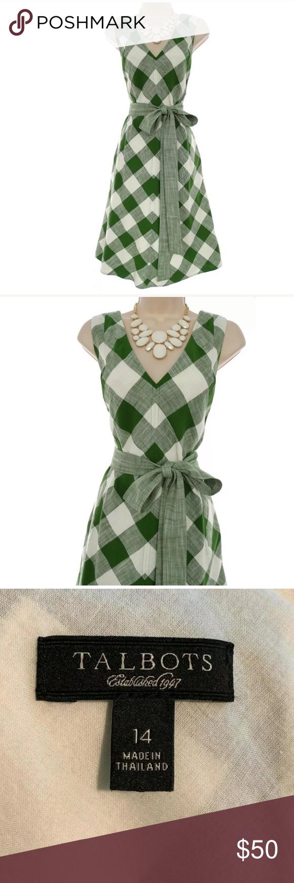 Size 14 Talbots Green Plaid Dress W Tie Pockets Green Plaid Dress Plaid Dress Dresses [ 1740 x 580 Pixel ]