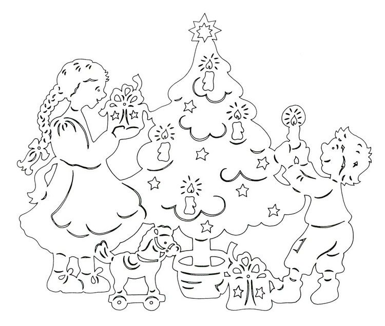 weihnachten vorlage scherenschnitt tannenbaum kinder