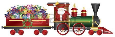 Santa Claus Ringing Bell on Train Delivering Wrapped Presents Isolated on White Background Illustration