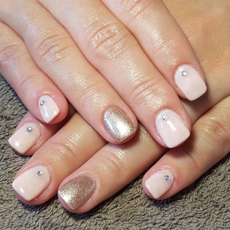 Nails Accent Nail Gelish Shellac Gellac Art Peach Bronze Silver Diamantes