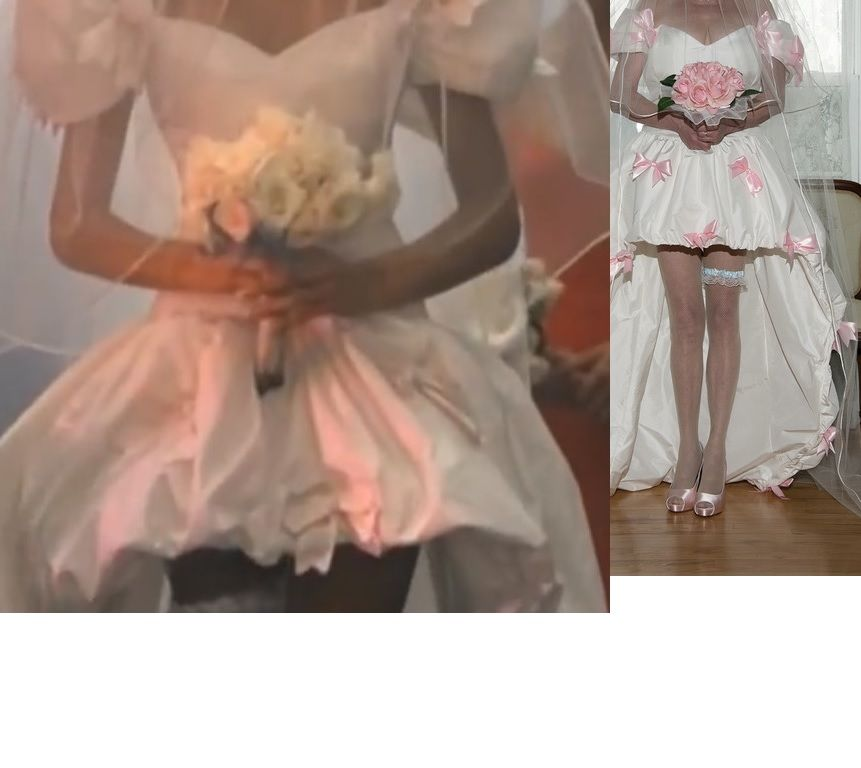 My November Rain Wedding Dress Side By Side With The One Worn By Stephanie Seymour I Couldn T Funky Wedding Dresses Diy Wedding Dress Wedding Dress Diy Sewing