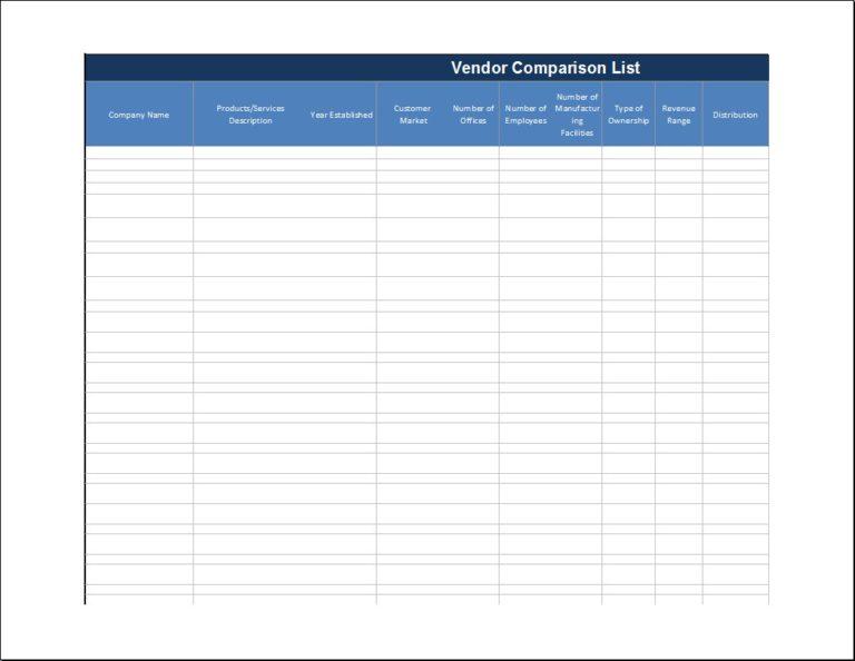 Vendor Comparison List Templates 7+ Free Printable Xlsx