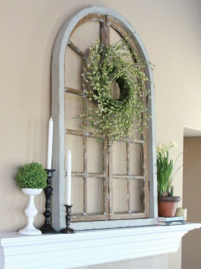 Dekoideen Selber Machen Kaminzims Dekorieren Alter Fensterrahmen