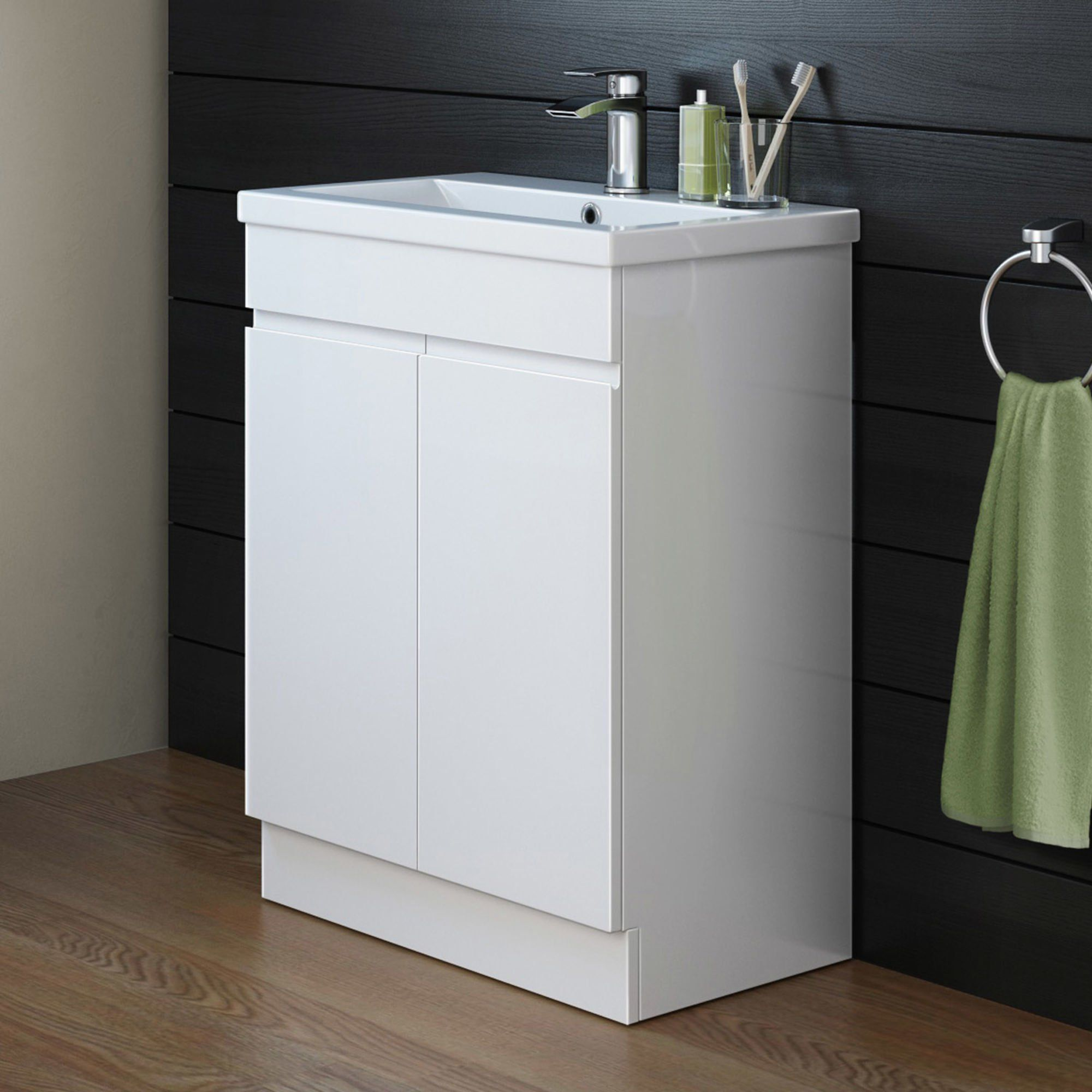 600mm Trent High Gloss White Basin Cabinet - Floor Standing   High ...