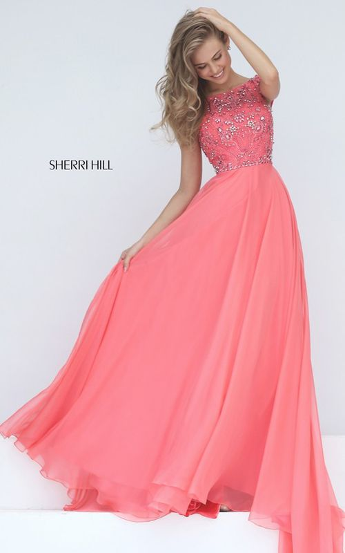 Sherri Hill 50849 Coral V Back Beaded Prom Dress Senior | Sherri ...