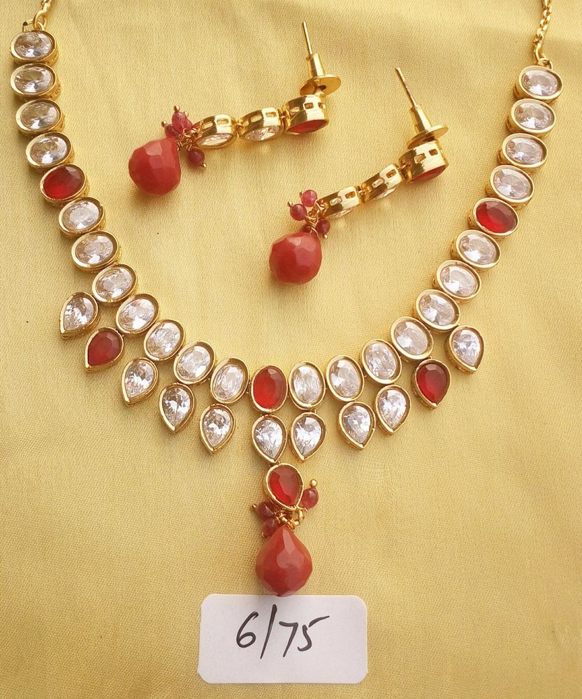 Indian red beads stone wedding antique party traditional fashion