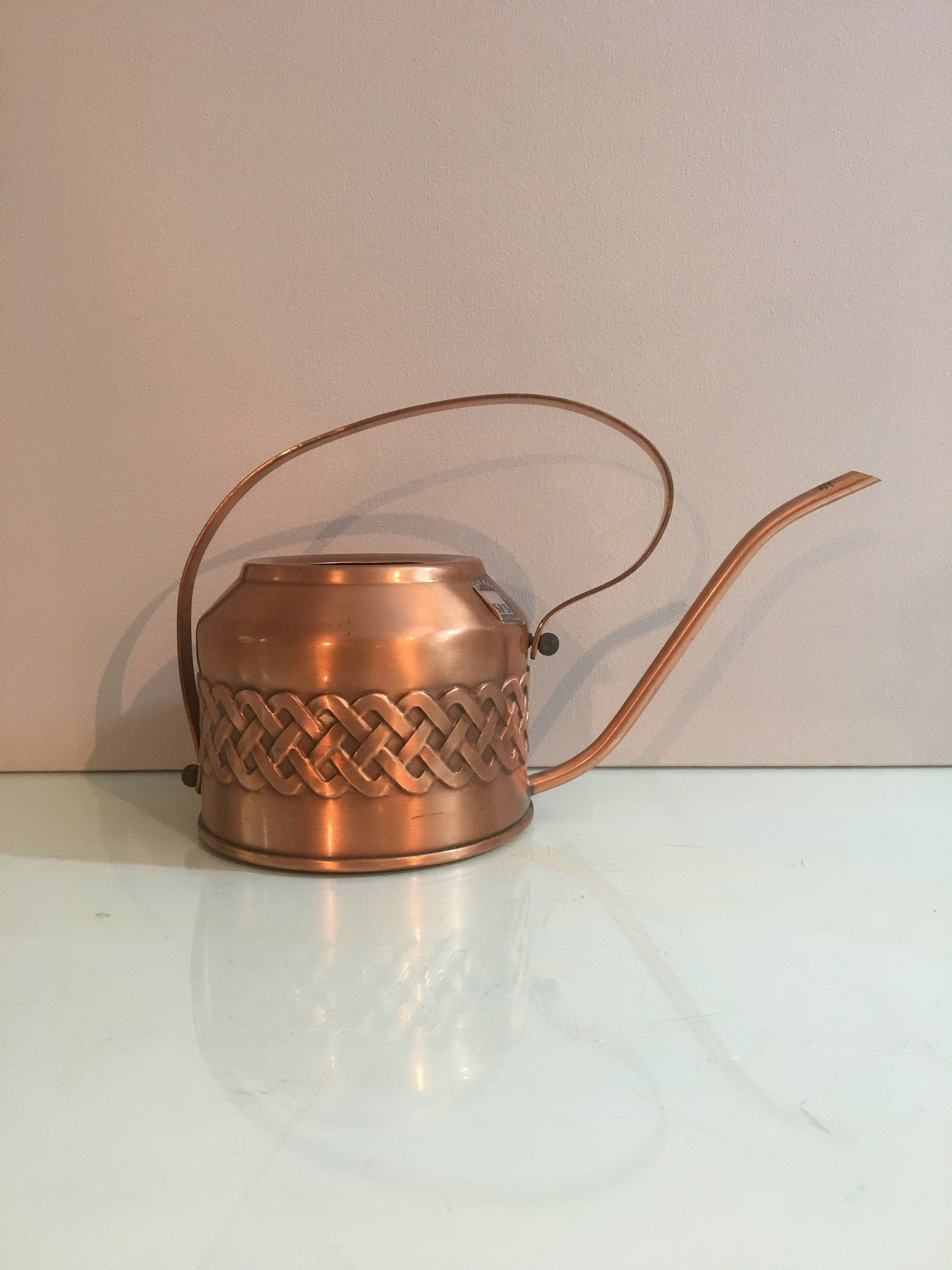 Gießkanne Kupfer Vintage Copper Watering Can Boho Chic Cable Stitch Pattern