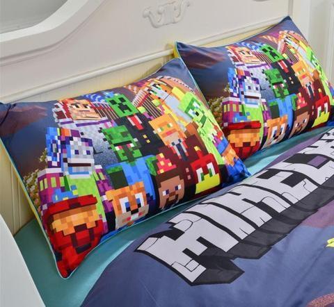 Multicolor Minecraft Duvet Cover Pillowcases Cotton Bedding