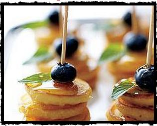 Bitesized Pancake Stacks Fancy appetizers, Breakfast