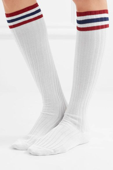 Striped Ribbed Cotton Knee Socks - White Maria La Rosa Free Shipping 2018 New q80z3kKB