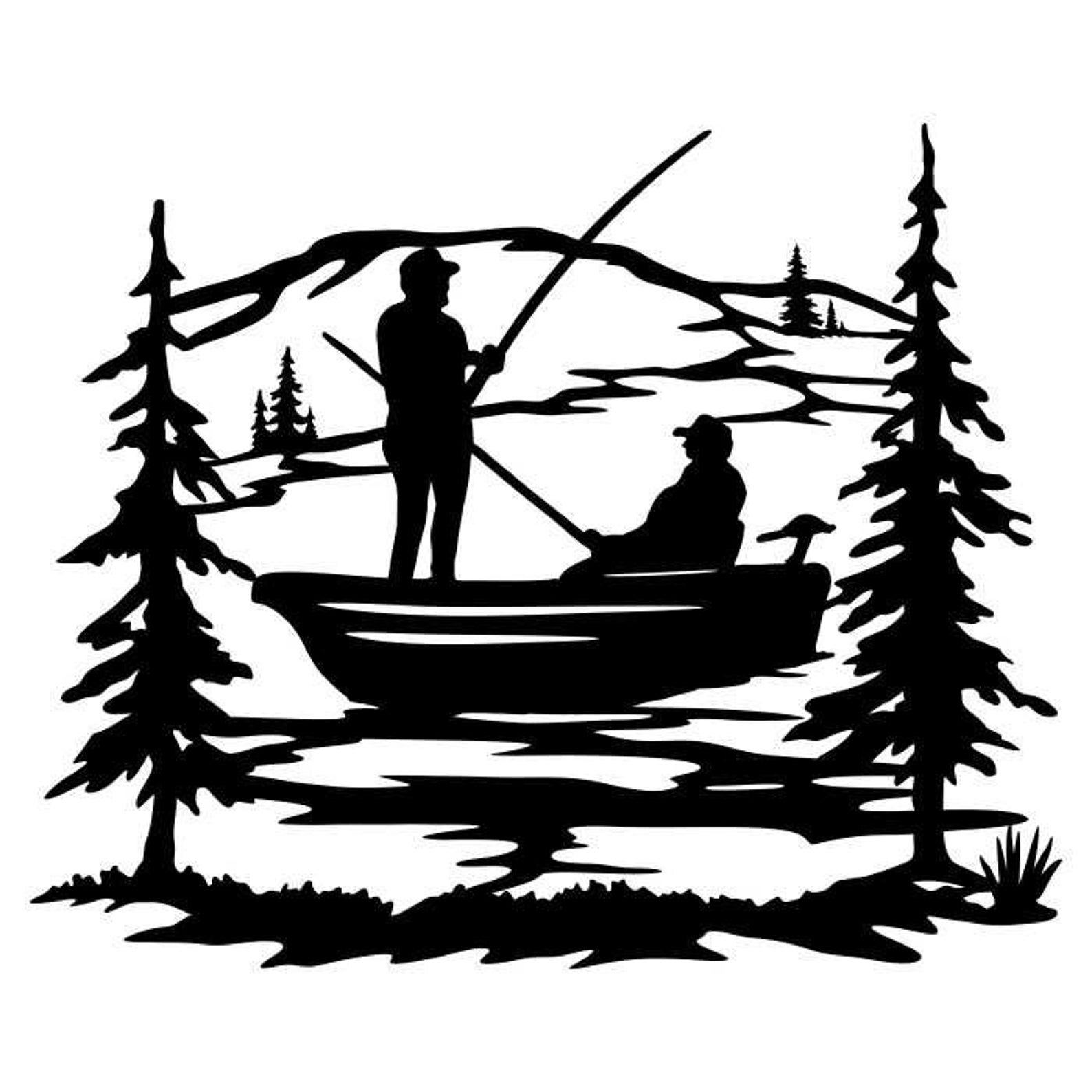 Download Fishing Boat Clipart Silhouettes Scene Eps Dxf Pdf Png Svg Ai Files Plasma Cnc In 2021 Fish Silhouette Boat Clipart Boat Silhouette