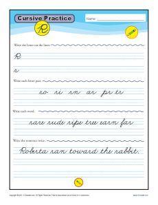 Cursive R - Letter R Worksheets for Handwriting Practice