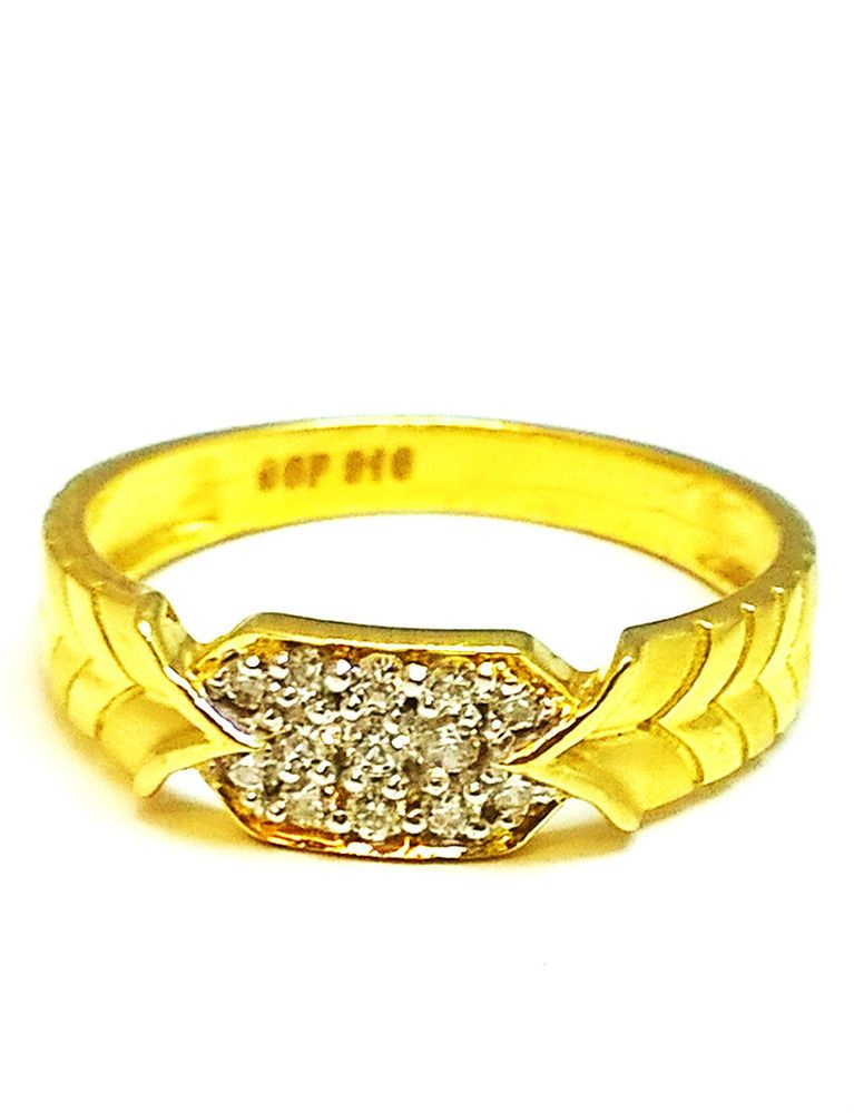 Gold Gents Ring Fancy 22k 22ct 916 Pure Bis Hallmark Glossy Cz