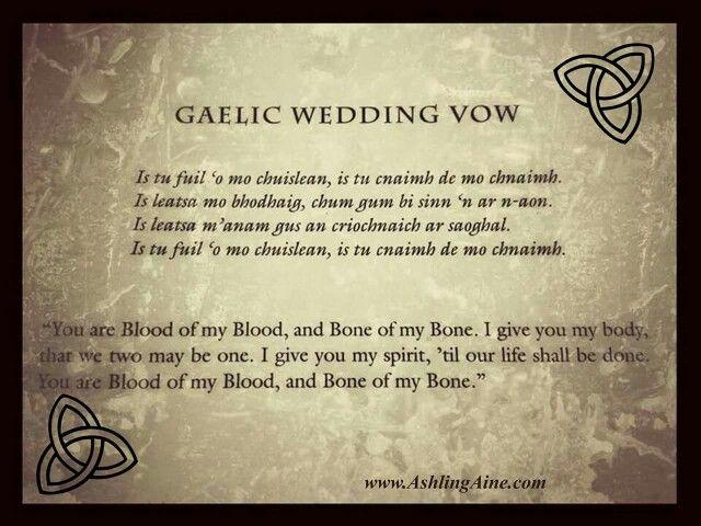 Gaelic Wedding Vow Outlander Wedding Wedding Vows Outlander