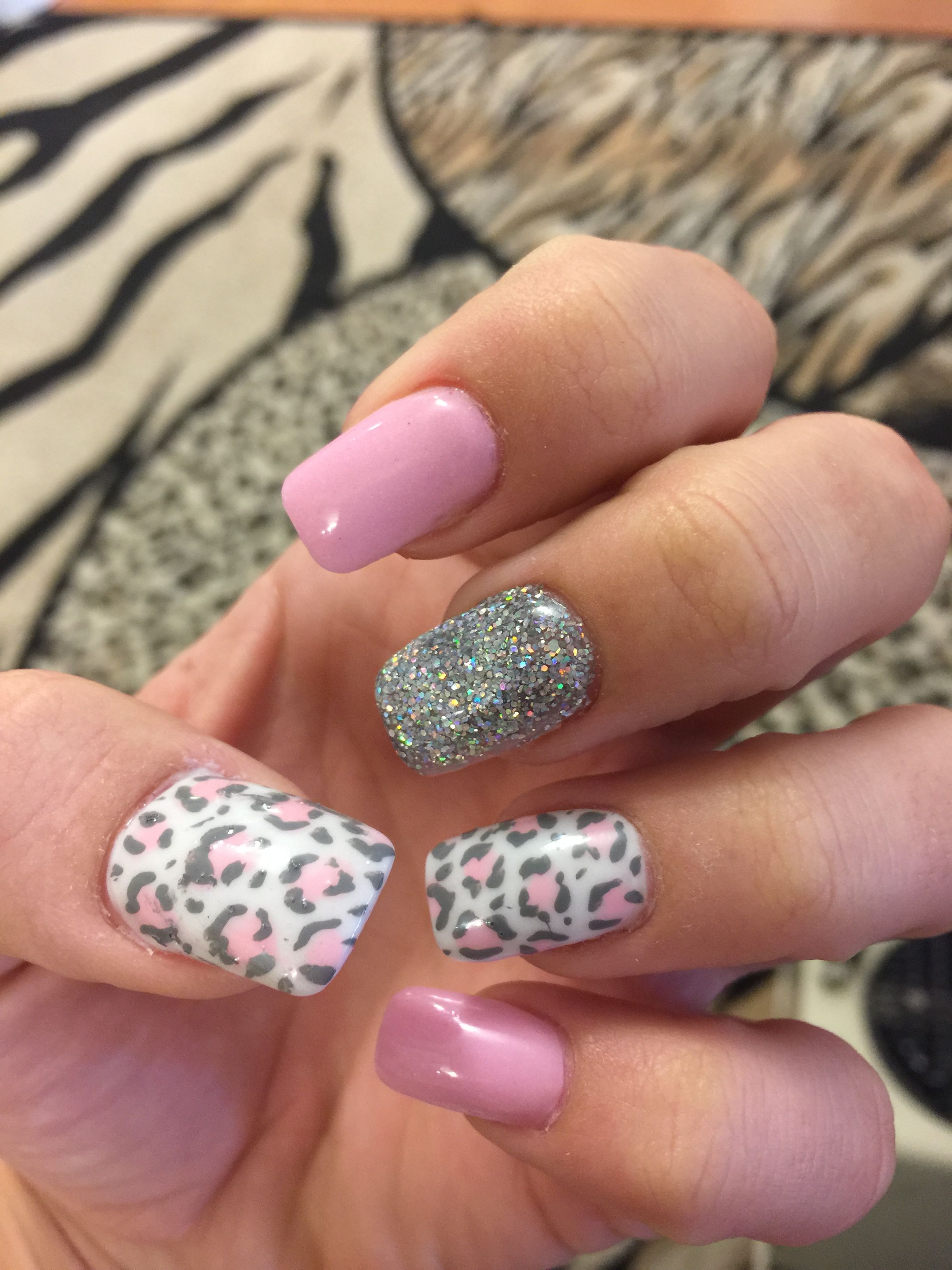 Cheetah Nails Pink Gray And White Pink Cheetah Nails Leopard Nails Nails