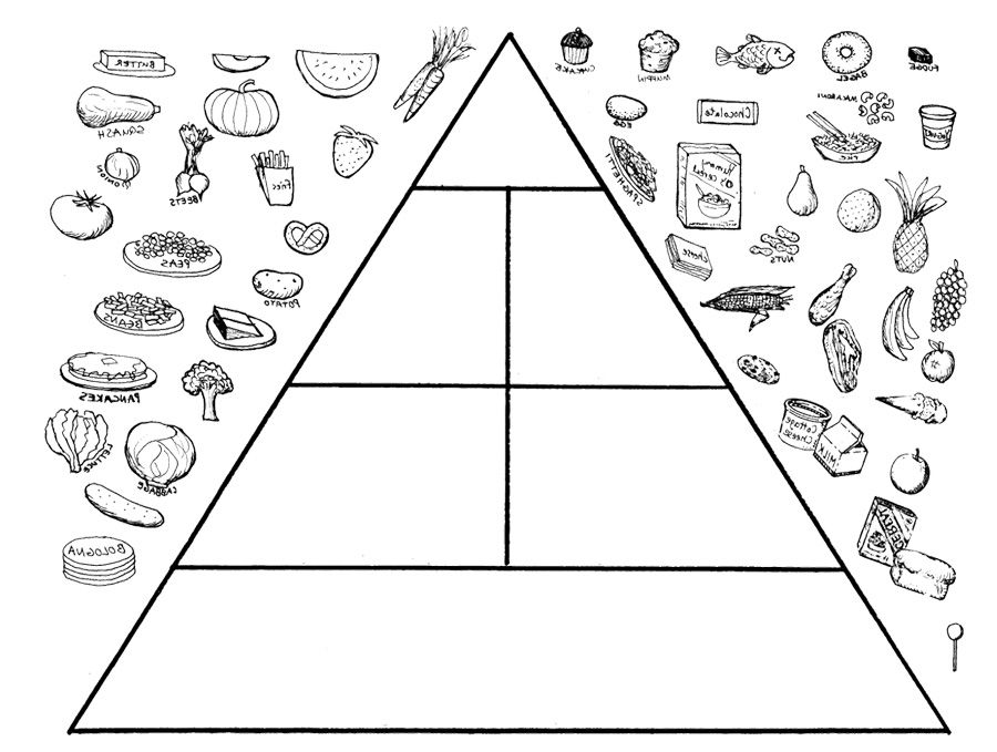 The Food Pyramid Is Interesting Coloring Page Food