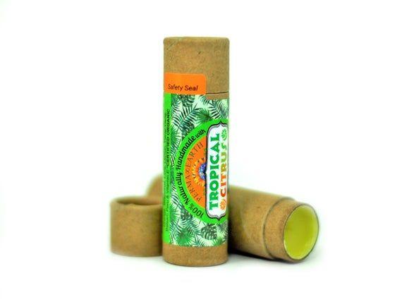 Organic Tropical Citrus Lip Balm - Essential Oils - Fair Trade Shea Butter - Jojoba Oil - Local Lard #jojobaoil