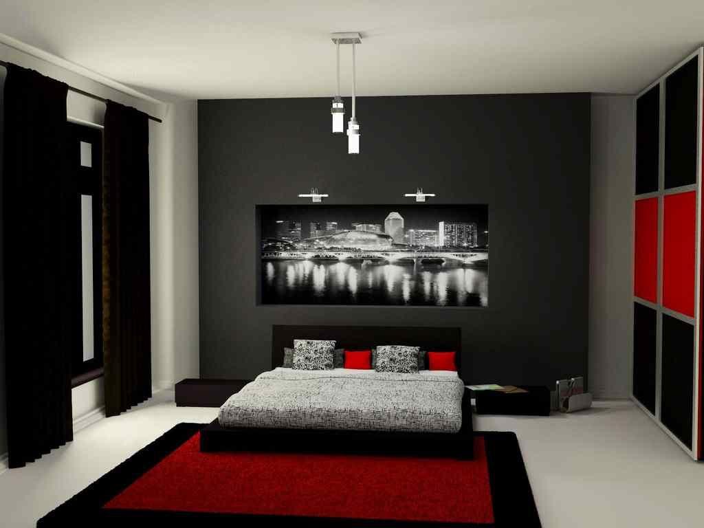 black grey red bedroom