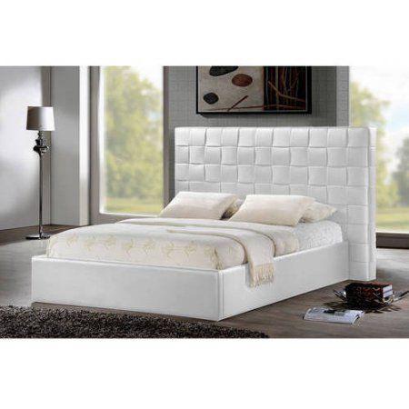 Prenetta White Modern Queen Bed With Upholstered Headboard