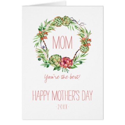 #personalize - #Vintage Floral  Succlent | Mother's Day Card