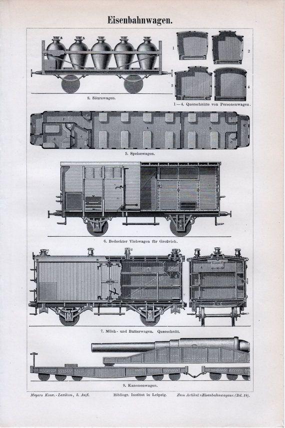 1898 Rail Wagons Antique Print Vintage Lithograph Railroad Car