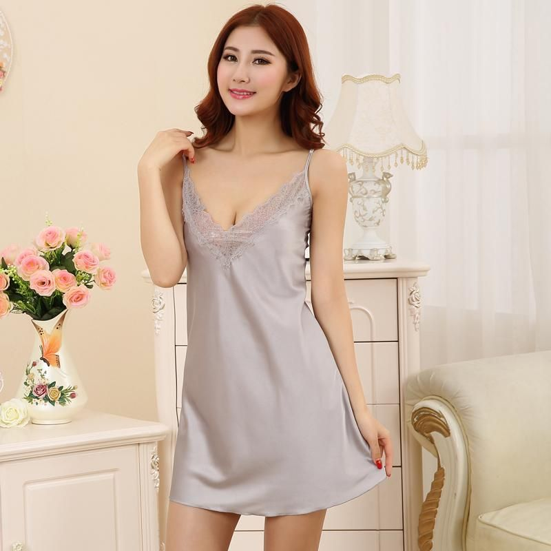 aa2cfbf5d5 Nightdress Sexy Nighty Dress Sleeveless Sleepdress V-neck Sleepwear  Nightwear For Summer Hot Women Silk Satin Nightgown Lace#sexy nighty dress#Mother  & Kids