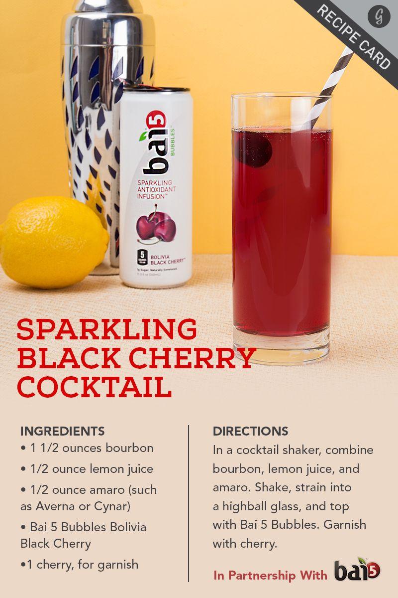 Sparkling Black Cherry Cocktail Recipe Cherry Cocktail Cocktails Cocktail Ingredients