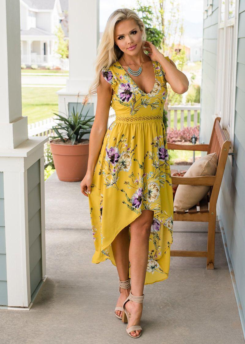 b6d56517d654 Floral Print Trimmed Lace High Low Dress Pale Mustard - Modern Vintage  Boutique