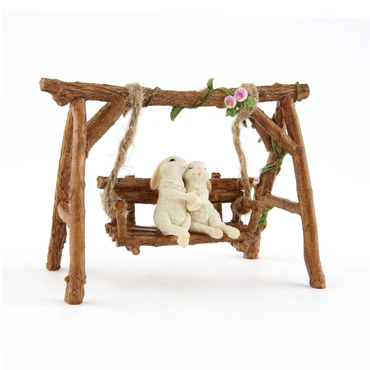 Wondrous Rabbit Lovers On Swinging Garden Bench Products Fairy Evergreenethics Interior Chair Design Evergreenethicsorg