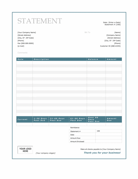 billing statement blue border design free download templates