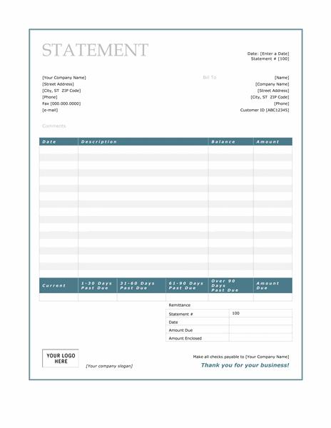Billing Statement Blue Border Design Free Download