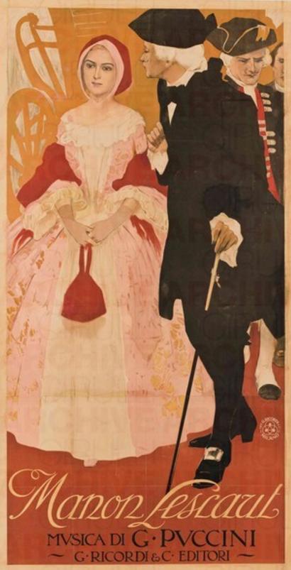 Leopoldo Metlicovitz (1868-1944, Italian), Manon Lescaut, 1907 stampa litografica a colori su carta 200 x 105 cm  Musica di G. Puccini, G.Ricordi & C. Editori