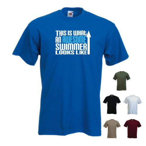 /'This is What an Awesome Swimmer Looks Like/' Swimming Swim Funny T-shirt Tee