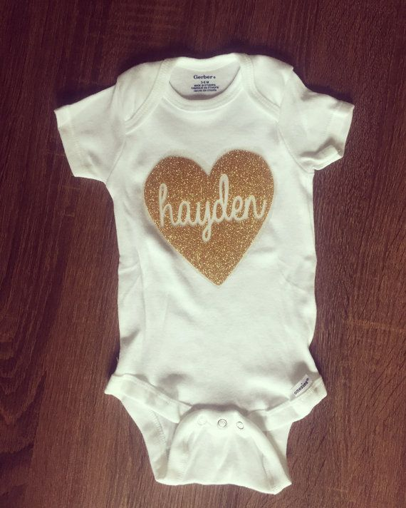 Baby Name Hearts Embroidered Baby Vest Gift Personalised New Arrival