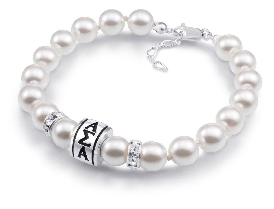 This is beautiful! > Alpha Sigma Alpha Barrel Sorority Pearl Bracelet. $79.00, via Etsy.