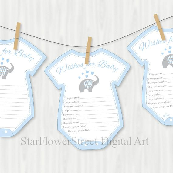 Blue Elephant Baby Shower Decorations Baby Blue Boy Elephant Decoration  Wishes For Baby Gray Printable Cutout Scrapbook Little Peanut Grey