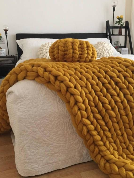 Mustard Yellow Throw Blanket Endearing Chunky Knit Blanket Merino Wool Wool Throw Chunky Blanket Giant Review